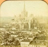Italie Milan Cathedrale Panorama Anciennne Photo Stereo Transparente BK 1865 - Photos Stéréoscopiques