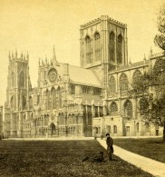 Royaume Uni York Minster Cathedrale Anciennne Photo Stereo GW Wilson 1865