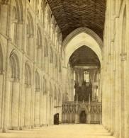 Royaume Uni Cambridgeshire Peterborough Cathedrale Nef Anciennne Photo Stereo GW Wilson 1865