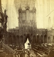 Royaume Uni Cambridgeshire Peterborough Cathedrale Le Choeur Anciennne Photo Stereo GW Wilson 1865