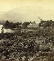 Ecosse Loch Achray Chapelle Des Trossachs Anciennne Photo Stereo GW Wilson 1865
