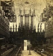 Royaume Uni Berkshire Windsor Chapelle St George Le Choeur Anciennne Photo Stereo GW Wilson 1865