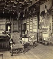 Royaume Uni Ecosse Abbotsford House La Bibliotheque Anciennne Photo Stereo GW Wilson 1865