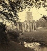 Royaume Uni Yorkshire Fountains Abbey From Robin Hood's Well Anciennne Photo Stereo GW Wilson 1865
