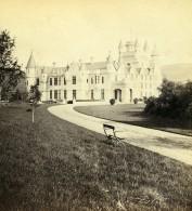 Royaume Uni Ecosse Château De Balmoral Castle Façade Sud Ouest Anciennne Photo Stereo GW Wilson 1865