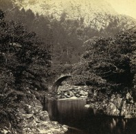Pays De Galles Beddgelert Pont Aberglaslyn Anciennne Stereo Bedford? 1865 - Stereoscopic