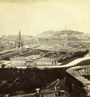 Royaume Uni Ecosse Edimbourg Vue Generale Depuis Le Château Anciennne Photo Stereo Burns 1865