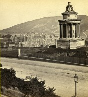 Royaume Uni Ecosse Edimbourg Burn's Monument Holyrood Palace Anciennne Photo Stereo Burns 1865 - Stereoscopic