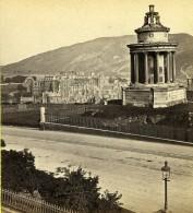 Royaume Uni Ecosse Edimbourg Burn's Monument Holyrood Palace Anciennne Photo Stereo Burns 1865