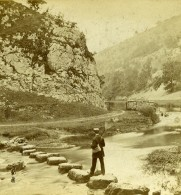 Royaume Uni Peak District Dovedale Stepping Stones Anciennne Photo Stereo Latham 1865