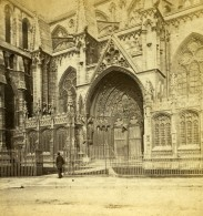 Royaume Uni Lincoln Cathedrale Porte Sud Anciennne Photo Stereo Slingsby 1865