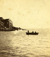 Royaume Uni Isle Of Portland Chasseur Aux Oiseaux En Barque Anciennne Photo Stereo 1865 - Stereoscopic