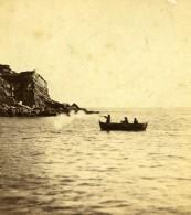 Royaume Uni Isle Of Portland Chasseur Aux Oiseaux En Barque Anciennne Photo Stereo 1865