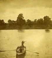 Royaume Uni Scene De Chasse En Barque Sur La Riviere Anciennne Photo Stereo 1865