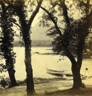 Irlande Middle Lake Dinis Island Landing Place Anciennne Photo Stereo Petschler 1865