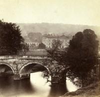 Royaume Uni Derbyshire Chatsworth House Bridge Anciennne Photo Stereo Petschler 1865