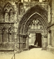 Royaume Uni Ecosse Edimbourg Holyrood Abbaye Entrée Principale Anciennne Photo Stereo 1865