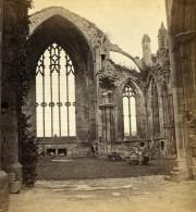 Royaume Uni Ecosse Melrose Abbey Interieur Anciennne Photo Stereo Gordon 1865