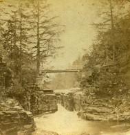Royaume Uni Ecosse Chutes De Quoich Anciennne Photo Stereo John Ewan 1865
