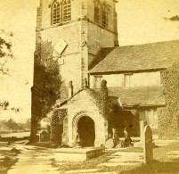 Royaume Uni Cheshire Alderley Old Church Vieille Eglise Anciennne Photo Stereo Petschler 1865