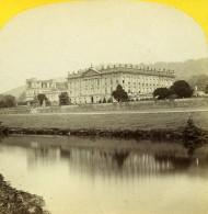 Royaume Uni Derbyshire Chatsworth House Anciennne Photo Stereo Petschler 1865