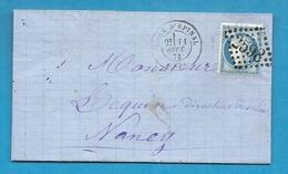 Vosges - Epinal Pour Nancy (Meurthe Et Moselle). Cachet De La GARE D'EPINAL. 1874 - Marcophilie (Lettres)