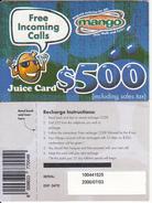 ZIMBABWE - Juice Card, Mango Recharge Card $500, Exp.date 03/07/00, Used - Zimbabwe