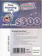 ZIMBABWE - Juice Card, Mango Recharge Card $300, Exp.date 05/09/00, Used - Zimbabwe