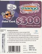 ZIMBABWE - Juice Card, Mango Recharge Card $300, Exp.date 10/10/02, Used - Zimbabwe