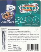 ZIMBABWE - Juice Card, Mango Recharge Card $200, Exp.date 11/04/03, Used - Zimbabwe