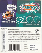 ZIMBABWE - Juice Card, Mango Recharge Card $200, Exp.date 09/01/03, Used - Zimbabwe