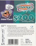 ZIMBABWE - Juice Card, Mango Recharge Card $200, Exp.date 10/10/02, Used - Zimbabwe