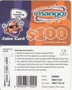 ZIMBABWE - Juice Card, Mango Recharge Card $100, Exp.date 10/10/02, Used - Zimbabwe