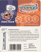 ZIMBABWE - Juice Card, Mango Recharge Card $100, Exp.date 09/04/02, Used - Zimbabwe