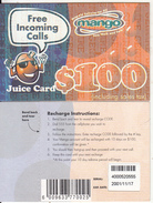 ZIMBABWE - Juice Card, Mango Recharge Card $100, Exp.date 17/11/01, Used - Zimbabwe
