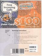ZIMBABWE - Juice Card, Mango Recharge Card $100, Exp.date 10/11/00, Used - Zimbabwe