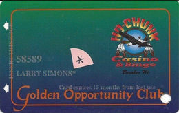 Ho-Chunk Casino & Bingo - Baraboo, WI - 5th Issue Slot Card - 1-800-7HO-CHUNK Phone# - Expires 15 Months & Asterics (*) - Casino Cards