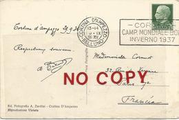Bob, Cortina D'Ampezzo, 30.9.1936, Targhetta Pubblicitaria Campionato Mondiale Bob Inverno 1937 Su Cartolina Pordoi. - Inverno