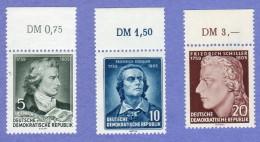 DDR SC #241-3 MNH 1955 Friedrich Von Schiller, Poet  CV $3.00 (I) - Unused Stamps