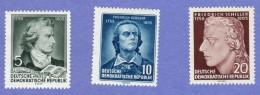 DDR SC #241-3 MNH 1955 Friedrich Von Schiller, Poet, CV $3.00 (I) - [6] Democratic Republic