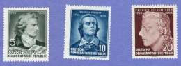 DDR SC #241-3 MNH 1955 Friedrich Von Schiller, Poet, CV $3.00 (I) - Unused Stamps