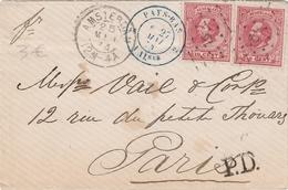 Amsterdam 12M-4A 1874 + Cachet Entrée Pays-Bas Valenciennes - Lettre Pour Paris - Brief Letter Cover - Lettres & Documents