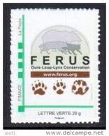 Timbre Personnalisé Logo Ferus Et Empreintes Ours Loup Lynx - édition 2013 - Lettre Verte - France