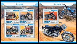DJIBOUTI 2017 - Motorcycles, M/S + S/S. Official Issue - Motorbikes
