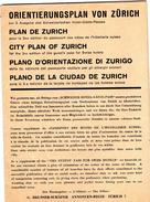 ZURIGO--MAPPA-ORIENTIERUNGSPLAN-VINTAGE-CON MOLTE PUBBLICITA' - Europe