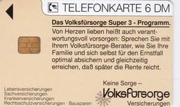 Germany, O 0322-03/94, Card Number 597, Volksfürsorge Versicherungen 2 - Keine Sorge (Familie), Only 20000, 2 Scans.