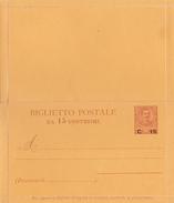 ENTIER POSTAL Italie -  Carte Double - Surchargé 15c  - Non écrit Et Non Oblitéré - Italy