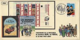 FRANCE 4054 FDC 1er Jour  TINTIN KUIFJE HERGE Guebwiller 2007 Comics Strip Bédé : Dupondt - Fumetti