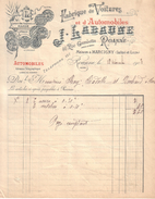 LOIRE , SAÔNE ET LOIRE - ROANNE , MARCIGNY - FABRIQUE DE VOITURES ET D' AUTOMOBILES - J. LABAUNE 1903 - Cars