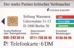 Germany, O 0252-09/92, Card Number 599, Stiftung Warentest 1 - Brandenburger Tor, Only 30000, 2 Scans.